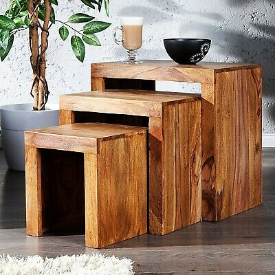SIDETABLE SET SHEESHAM | massive wood, brown, 3pcs | rustic table set