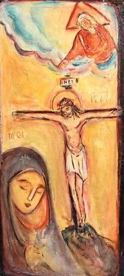 Orthodox Hand Painted Icon Christ Crucifixion Virgin Mary