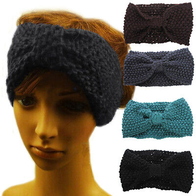 Women Girls Bow Knot Headband Ear Warm Winter Crochet Knitted Hair Band Headwear