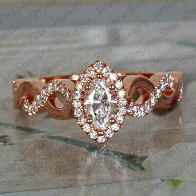 2.50 Ct Marquise Cut Diamond 10K Rose Gold Finish Twist Engagement Wedding Ring