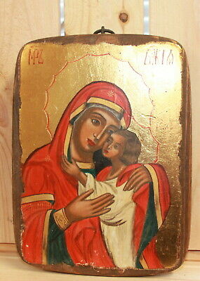 Hand painted Orthodox icon Virgin Mary Christ child
