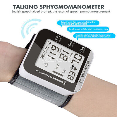 Full Screen LCD Digital Wrist Voice Blood Pressure Monitor Sphygmomanometer&Box.