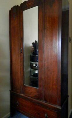 Antique Arts & Crafts Style Carved Wood Two Part Mirrored Wardrobe & Base