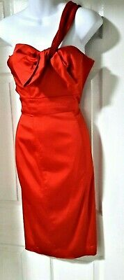 Party Dress by TED BAKER Size 0 Vivid Cerise 1950s Off the Shoulder Length 41 ""