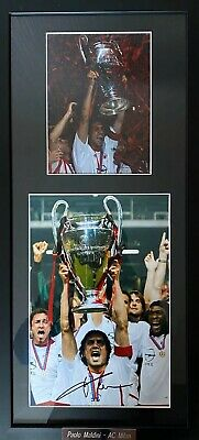 Paolo Maldini Genuine Hand Signed AC Milan 12x8 Photo In Frame, Italy, 1
