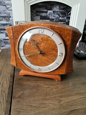 ART DECO vintage wooden ANDREW MANTLE CLOCK VERY GOOD WORKING ORDER