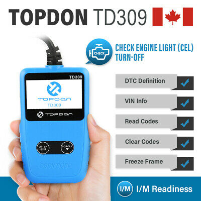 TOPDON TD309 Car Engine Clear Fault Code Reader OBD2 EOBD CAN Reset Auto Scanner