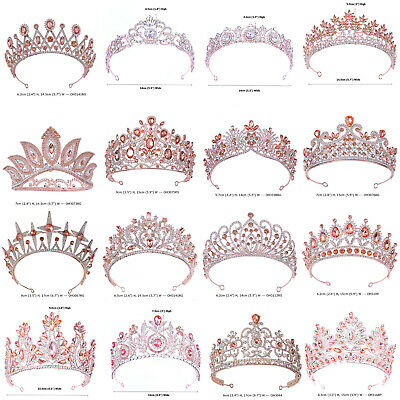 35 Styles Rose Gold Crystal Queen Princess Tiara Crown Wedding Party Pageant