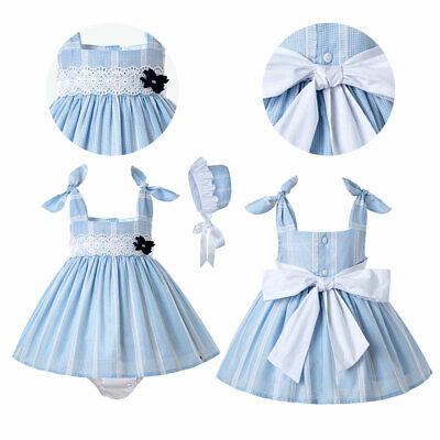 Summer Baby Girls Striped Princess Dress Party Wedding Prom Blue Infant Clothes