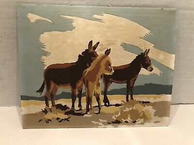 Vintage Southwestern Style Paint By Number Completed Three Burros Desert