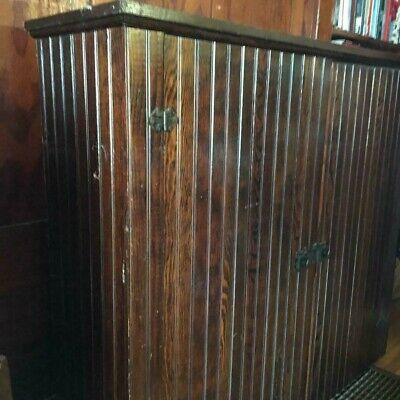 Antique wood Rustic Farm house Pantry Rustic Cupboard Cabinet Wainscot Wooden