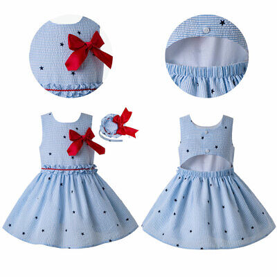 Girls Holiday Sundress With Bow Spanish Princess Dress Formal Party Prom Blue