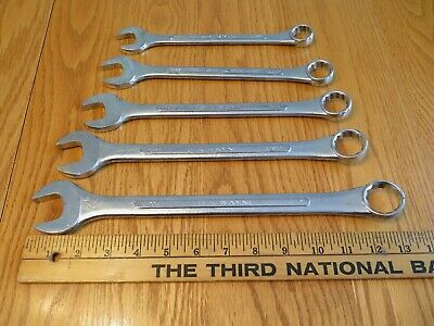 "Vintage S-K Wayne 5 Pc Lot  SAE Combination Wrenches 12 Pt. 3/4""-1""  Made in USA"