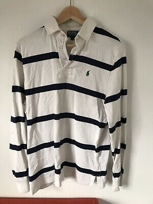 Mens Polo Ralph Lauren Rugby Long Sleeve Shirt Medium Navy Blue And White