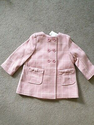 Mothercare Girls Pink Check Coats Size 2-3