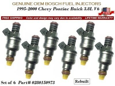 1997-2000 Pontiac Grand Prix 3.8L Set 6 Bosch Fuel Injectors 0280150973 Lifetime