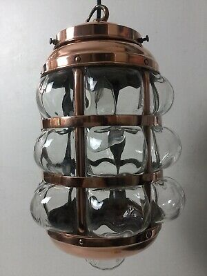 Antique Arts & Crafts Copper Hall Light Porch Lantern Caged Blown Glass Pendant