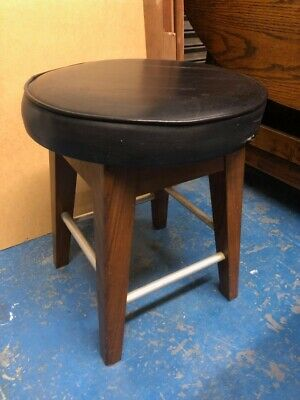 Vintage round padded stool - need reupholstery Retro midcentury COLLECTION