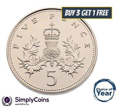 PROOF: BRITISH FIVE PENCE DECIMAL 5p OLD COINS - 1971 TO 1990 - CHOICE OF YEAR