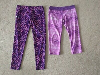 Girl's Youth XL Under Armour purple pant and capri - lot of 2