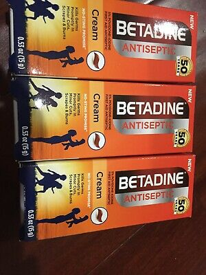 Pack of 3~Betadine First Aid Cream Povidone Iodine Antiseptic, 0.53 oz Exp- 2022