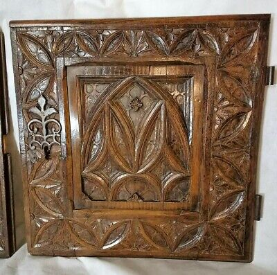 Rare Early 16th Century Medieval Carved Oak Gothic Tracery Door Panel c1500