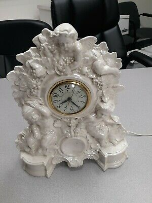 Vintage The Sessions Co Ceramic Porcelain Pearl Mantle Clock Electric Cherubs