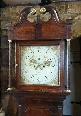 An antique Georgian Oak and Mahogany Grandfather Longcase Clock C1810