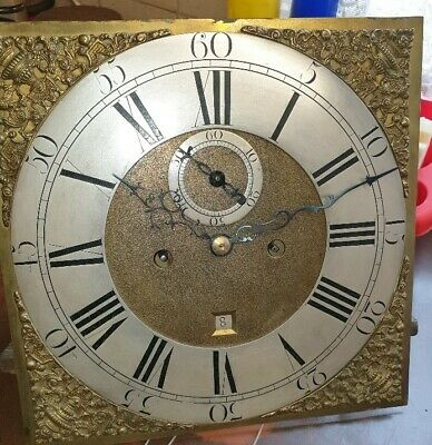 Brass & Silvered Longcase Grandfather clock dial and movement, spares or repair