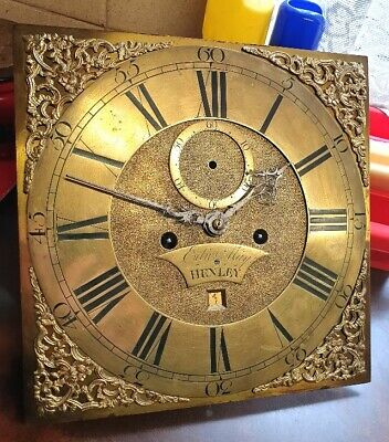 Georgian Brass Longcase Grandfather clock dial and movement, spares or repair