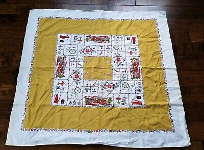 Vintage 1950's Colonial Themed Tablecloth Cutter?