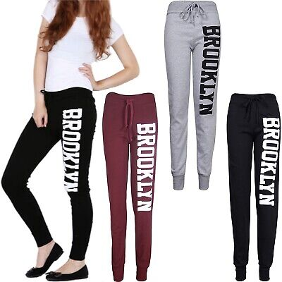 Womens Brooklyn Print Trouser Jogging Bottoms Gym Joggers Tracksuit Pants