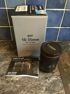 Canon Wide Angle Zoom Lens. L Series. EF 16-35 f/4 IS USM. Near Mint. Boxed.