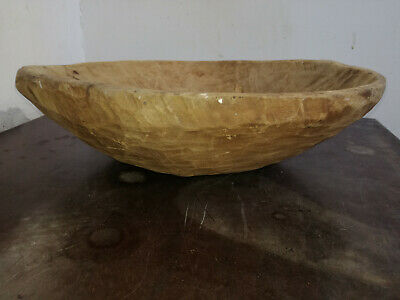 Old Antique Primitive Wood Wooden Hand Carved Bowl Cup Plate Folk Art Farm 20th