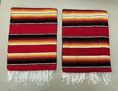 TWO PIECE SERAPE SET ,5' X 7',Mexican Blanket,HOT ROD SEAT Covers,XXL ,RED MIX 5