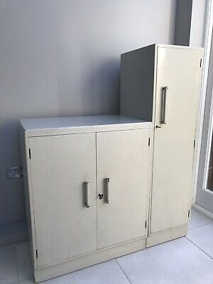 Vintage Art Deco Gents Painted Labelled Wardrobe And Cupboard Possibly Shrager
