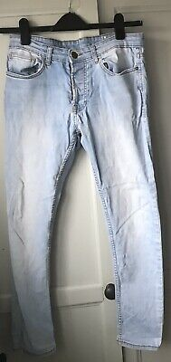 Boys Skinny Fit Faded Blue Jeans W30 L30 Button fly