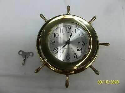 Antique Brass Seth Thomas U.s. Deck Clock Ship's Bells Maritime Working With Key