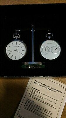 Jean Pierre of Switzerland Chrome Plated Executive Desk Watch and Weather Set.
