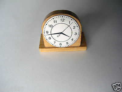 "Vintage Dollhouse Miniature Wooden Oak Mantle Clock Metal Face 1"" Diameter"