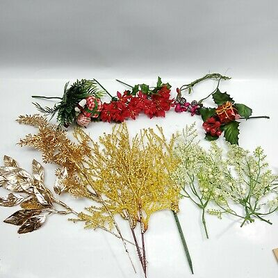 Mixed Lot Vintage Christmas Artificial Greenery Picks Piks Sprig Floral Decor