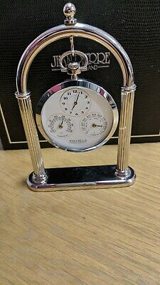 Jean Pierre of Switzerland Chrome Plated Single Desk Watch and Weather Set.