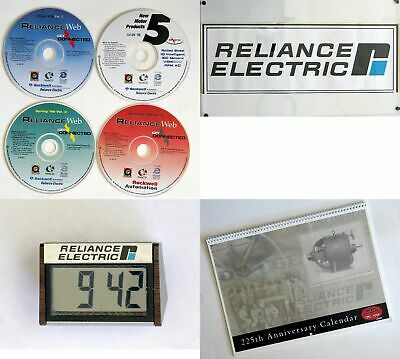 Vintage Reliance Electric Memorabilia, CDROM, Banner, Calendar, Digital Clock