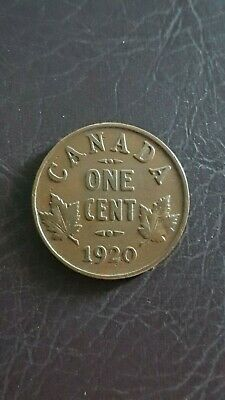 Canada 1 Cent 1920 George V Canadian Penny Copper Coin small cent
