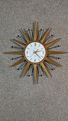 Vintage Smiths Timecal Sunburst Wall Clock 1960's