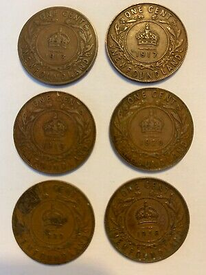 Newfoundland One Cent Coins 6 Coin Lot 1913, 1917, 1919, 1920, 1929 And 1936