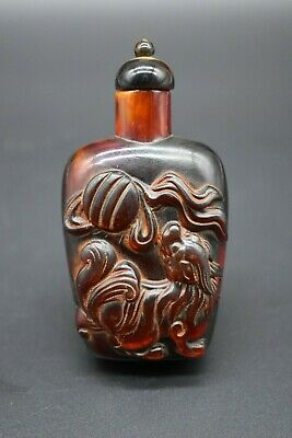 Chinese Qing Dynasty carved decorated perfume bottle C. 19th century AD