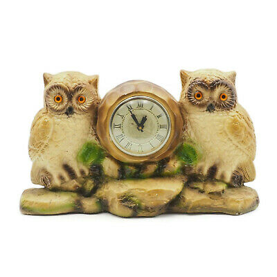 Vintage Ceramic Two Owls On Rocks Shelf Mantel Clock For Repair Or Parts Only