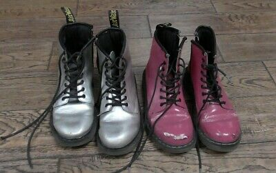 x2 Pairs of Girls Dr Martens Boots Pink & Silver Size 1