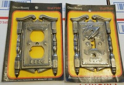 2 VTG American Tack & Hardware Co Brass Outlet Plate Covers Fyfe Drum 1776 NIP